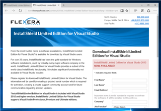 InstallShield 2015 Limited Edition for Visual Studio 2015 の