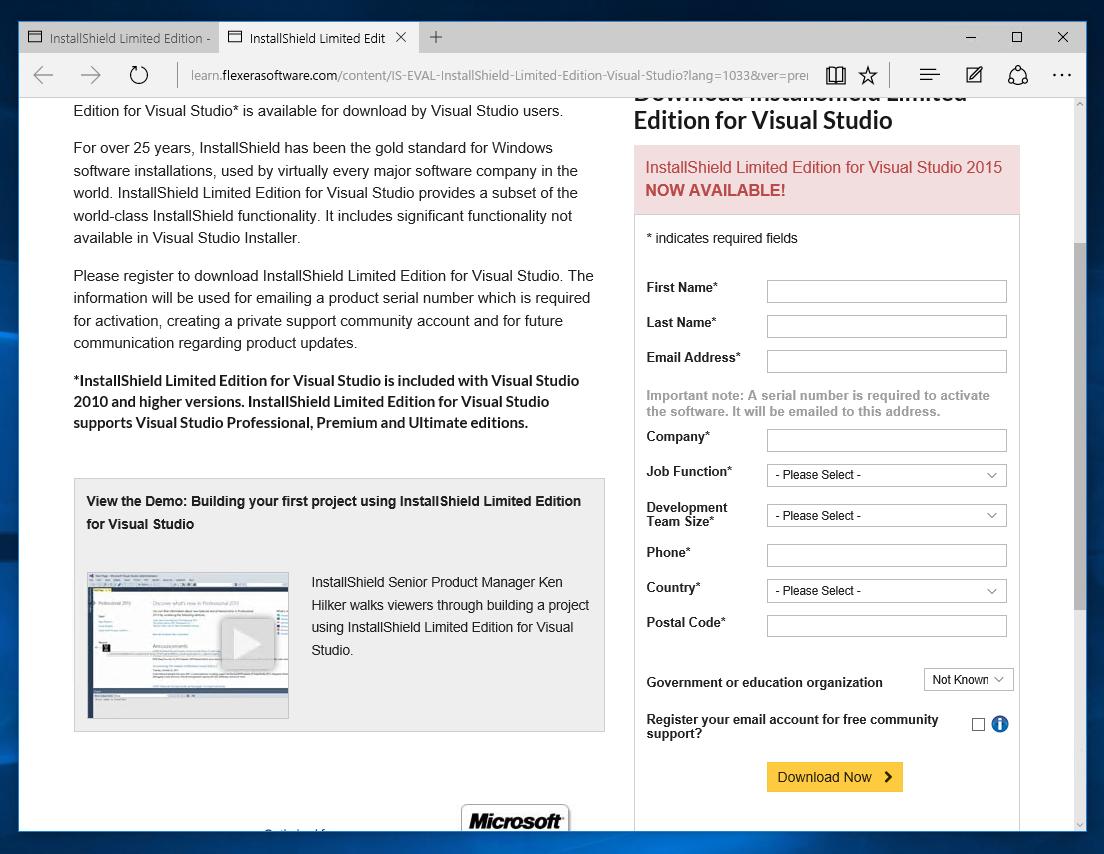 InstallShield 2015 Limited Edition for Visual Studio 2015 の有効化と