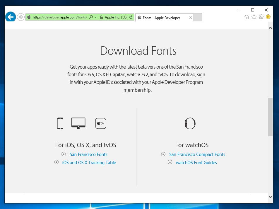 Apple San Francisco フォントのダウンロードとインストール