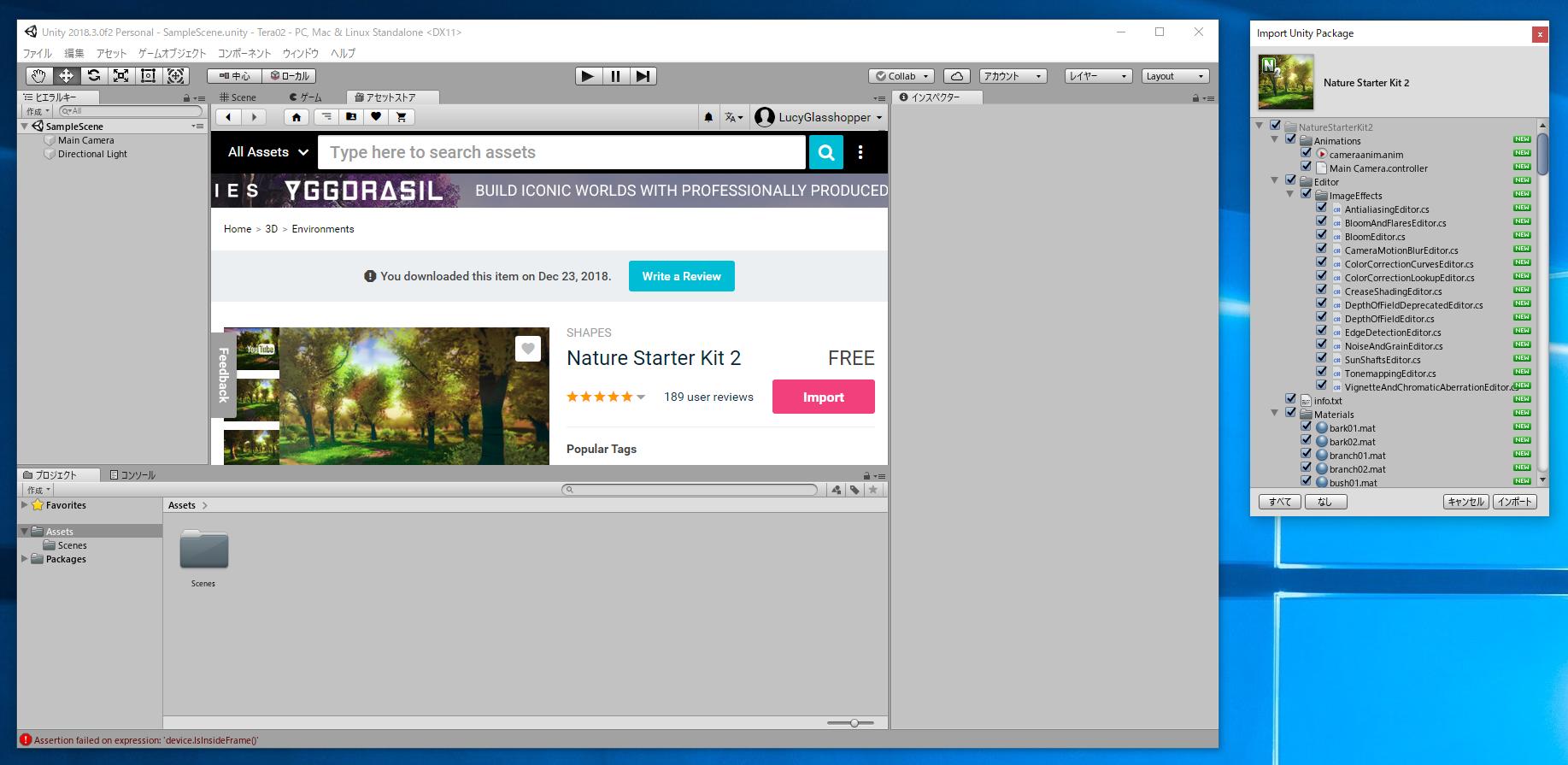 Nature Starter Kit 2 をインポートする (Unityプログラミング)